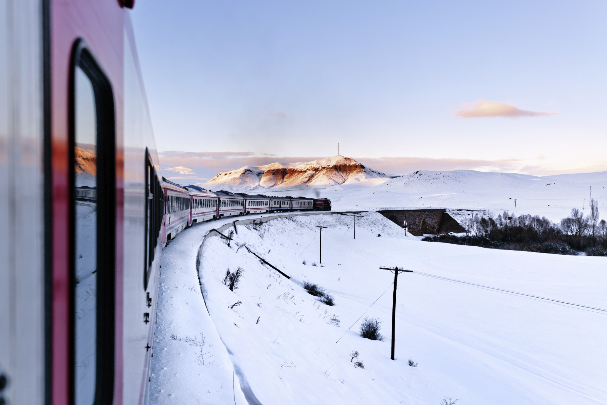 Train on bend in the snow - sezer66
