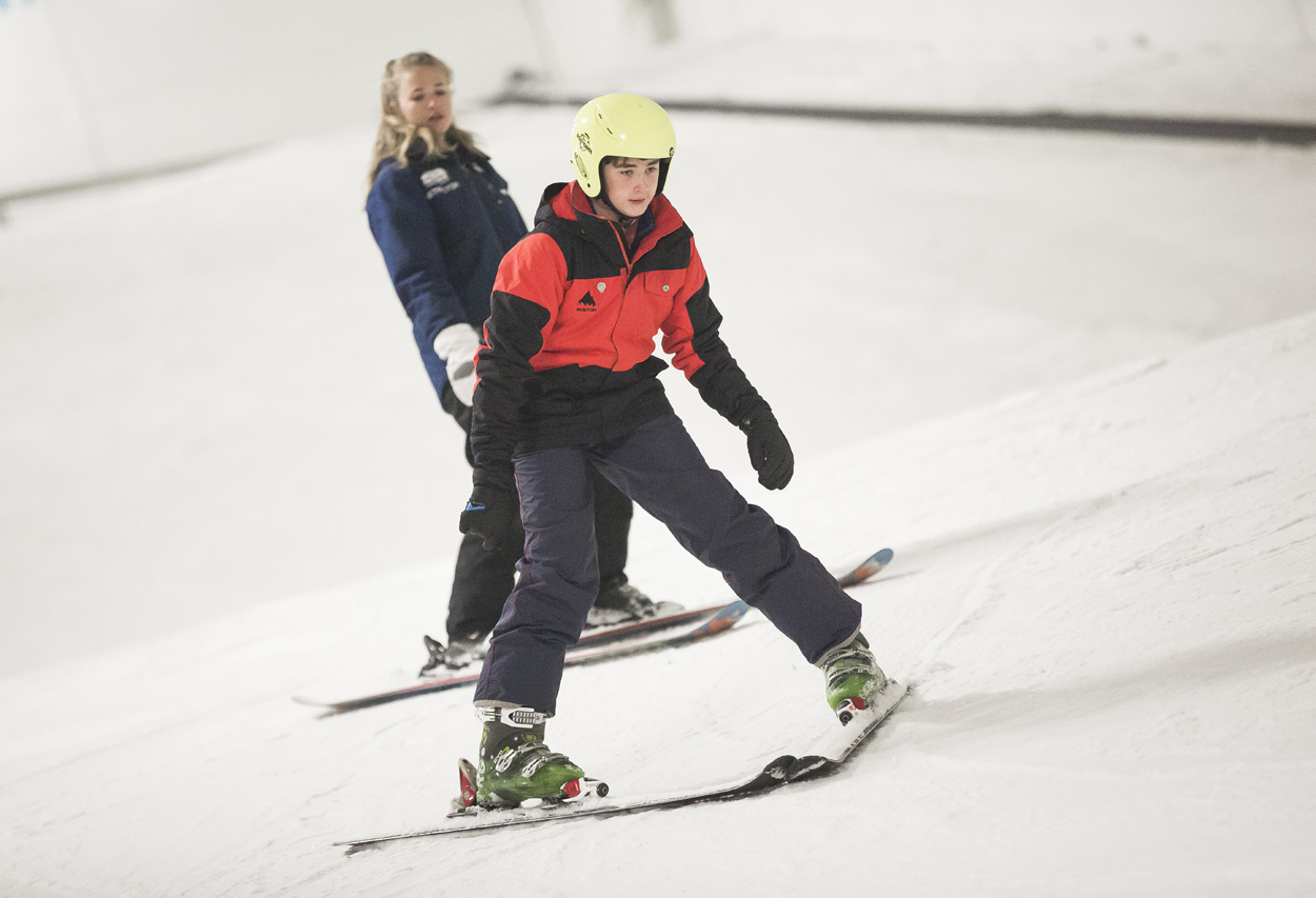 Skiers and snowboarders at SnoZone in Milton Keynes. 17 August 2014